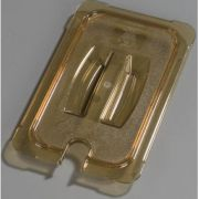 Carlisle High Heat Plastic Amber Universal Handled Notched Lid Only, 12 3/4 x 7 inch -- 1 each.
