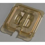 Carlisle High Heat Plastic Amber Universal Handled Notched Lid Only, 6 3/4 x 6 3/8 inch -- 1 each.