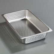 4 inch Depth DuraPan 18-8 Stainless Steel Light Gauge Full Size Perforated Food Pan -- 1 each