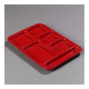 Red ABS 6 Compartment Right-Hand Tray 14.37 x 10 x 0.69 inch -- 1 each