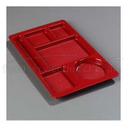 Red Omni-Directional ABS Space Saver 6 Compartment Tray 15 x 9 inch -- 1 each