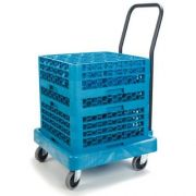 Carlisle Blue Polypropylene E Z Glide Glass Rack Dolly Cart with Handle -- 1 each
