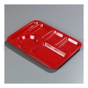 Red Economical Durable Polypropylene 6 Compartment Right-Hand Tray 14.37 x 10 x 0.75 inch -- 1 each