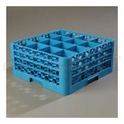 with 3 Extender Polypropylene Blue OptiClean 16 Compartment Glass Rack -- 1 each
