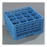 with 4 Extender Polypropylene Blue OptiClean 16 Compartment Glass Rack -- 1 each