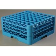 without Extender Polypropylene Blue OptiClean 49 Compartment Glass Rack -- 1 each