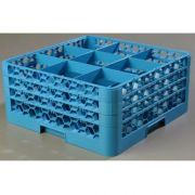 without Extender Polypropylene Blue OptiClean 9 Compartment Glass Rack -- 1 each