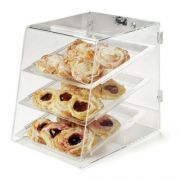 Carlisle Acrylic Clear 3 Tray Unassembled Back Door Pastry Display Case, 18 x 14 inch -- 1 each.
