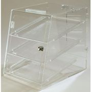 Carlisle Acrylic Clear 3 Tray Pass Thru Shallow Depth Pastry Display Case, 18 x 14 inch -- 1 each.