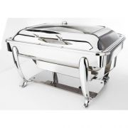 Eastern Tabletop Park Avenue Stainless Steel Rectangular Induction Chafing Dish with Hinged Glass Dome Cover and Stand, 8 Quart -- 1 each.