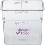 Cambro Camwear CamSquares Polycarbonate Allergen Free Purple Food Storage Container, 6 Quart -- 6 per case.