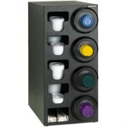 Dispense Rite SLR-C Black Polystyrene Countertop Combination Dispensing Cabinet with 4 SLR-2F In Counter Cup Dispenser on Right, 32 1/4 x 13 x 23 inch -- 1 each.