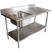 Stainless Steel Table With Left Side Sink. Size : 30 inch X 72 inch -- 1 each.