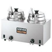 Server Stainless Steel Rethermalizer Fudge Server - 2 Hot Topping Warmer with Ladle, 1000 Watt -- 1 each.