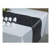 Hoffmaster 8200-FD284 Linen-Like Silver Swire and Black Color in Depth Table runner - 11 inch x 200 feet -- 1 each.
