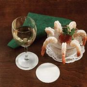 Hoffmaster 307 Specialty Sanitary Linen-Like White Scalloped Non-Woven Coasters 3 3/8 inch -- 1000 per case.