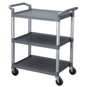 Thunder Group Plastic 3 Tier Grey Bus Cart -- 1 each.