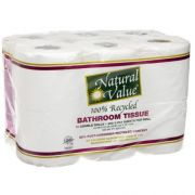 Natural Value 100 Percent Recycled Bathroom Tissue, 400 sheets per roll - 12 rolls per pack -- 4 packs per case.