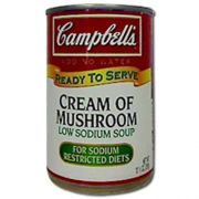 Campbells Ready To Serve Low Sodium Cream Of Mushroom Soup - 10.5 oz. can, 12 per case