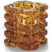 Hollowicks Amber Faceted Cube Votive Glass Lamp, 3 1/4 inch Height -- 1 each.