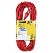 Fellowes Indoor/Outdoor Heavy-Duty 3-Prong Plug Extension Cord, 1-Outlet, 25ft, Orange