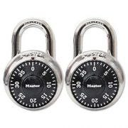 Master Lock Combination Lock, Stainless Steel, 1 7/8 inch Wide, Black Dial, 2/Pack