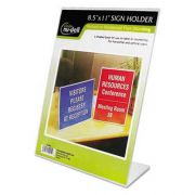 NuDell Clear Plastic Sign Holder, Stand-Up, Slanted, 8 1/2 x 11