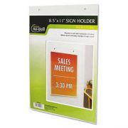 NuDell Clear Plastic Sign Holder, Wall Mount, 8 1/2 x 11