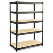 Safco Boltless Steel/Particleboard Shelving, Five-Shelf, 48w x 24d x 72h, Black