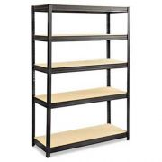 Safco Boltless Steel/Particleboard Shelving, Five-Shelf, 48w x 18d x 72h, Black