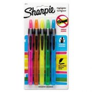 Sharpie Retractable Highlighters, Chisel Tip, Assorted Fluorescent Colors, 5/Set