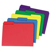 Universal One Heavyweight File Folders, 1/3 Cut One-Ply Top Tab, Letter, Assorted, 50/Pack