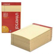Universal Colored Perforated Note Pads, Narrow Rule, 5 x 8, Ivory, 50-Sheet, Dozen
