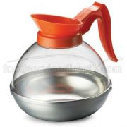 Tablecraft Polycarbonate Coffee Decanter with Orange Handle, 64 Ounce -- 1 each.