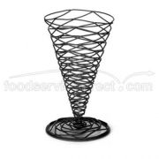Tablecraft Artisan Collection Black Powder Coated Metal Appetizer Cone, 4 3/4 x 6 3/4 inch -- 6 per case.