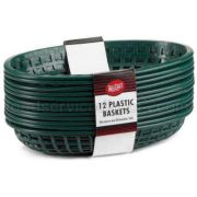Tablecraft Cash and Carry Plastic Classic Oval Green Basket, 9 3/8 x 6 x 1 7/8 inch -- 3 pack per case.