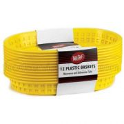 Tablecraft Cash and Carry Plastic Chicago Oval Yellow Basket, 10 1/2 x 7 x 1 1/2 inch -- 3 pack per case.