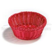 Tablecraft Handwoven Ridal Collection Polypropylene Round Serving Basket - Assorted Color, 8 1/4 x 3 1/4 inch -- 5 per case.