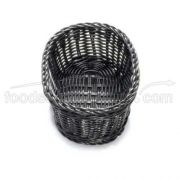 Tablecraft Handwoven Ridal Collection Oval Serving Basket - Black Color, 9 1/4 x 6 1/4 x 3 1/4 inch -- 12 per case