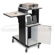 4 shelf presentation station with Cabinet , Heavy duty casters and  7 Outlet electrical assembly -- 1 each