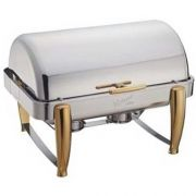 Winco Virtuoso Extra Heavyweight Stainless Steel Gold Accent Roll Top Full Size Chafer, 8 Quart -- 1 each.