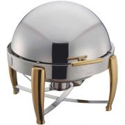 Winco Virtuoso Extra Heavyweight Stainless Steel Round Gold Accent Roll Top Chafer, 6 Quart -- 1 each.