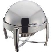 Winco Virtuoso Extra Heavyweight Stainless Steel Round Roll Top Chafer, 6 Quart -- 1 each.