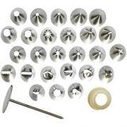 Winco Stainless Steel Cake 26 Tips Decorating Set -- 12 set per case.