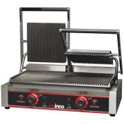 Winco Ribbed Plate Double Panini Grill, 9 inch -- 1 each.