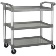 Winco Polypropylene 3 Tier Gray Utility Cart, 40 3/4 x 19 1/2 x 37 3/8 inch -- 1 each.