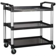 Winco Polypropylene 3 Tier Black Utility Cart, 40 3/4 x 19 1/2 x 37 3/8 inch -- 1 each.