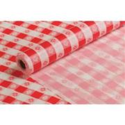 Hoffmaster Red Gingham Plastic Banquet Roll Table cover, 40 inch x 300 feet -- 1 each.