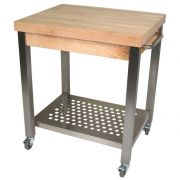 John Boos Maple Block Cream Finish Cucina Technica Cart with Drawer, 30 x 24 x 2 1/4 inch -- 1 each.