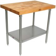 John Boos Oil Finish Maple Top Work Table with Stainless Steel Base and Shelf, 120 x 36 x 1 3/4 inch -- 1 each.